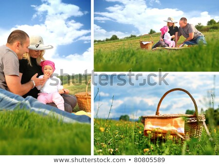 child in a hat with a mother and father on a grass, collage stock photo © Paha_L
