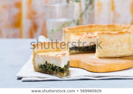 házi · készítésű · görög · spenót · pite · szeletek · ízletes - stock fotó © rojoimages