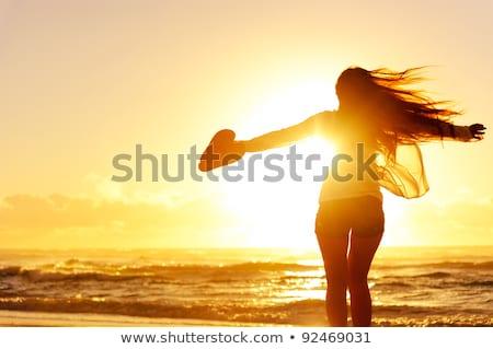 trillend · zonsondergang · silhouet · strand · laat · avond - stockfoto © juhku
