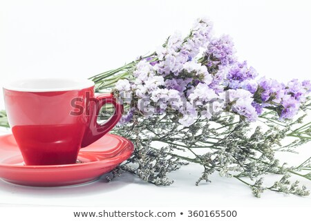 Red cup of cofee and static flower Stock photo © nalinratphi