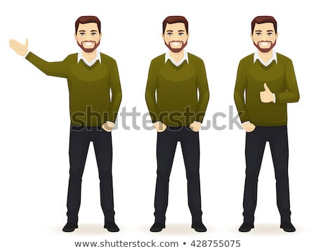 man showing thumbs up and presenting stock photo © feedough