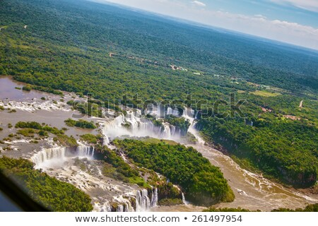 iguazu waterfalls from helicopter border of brazil and argentin stock photo © meinzahn