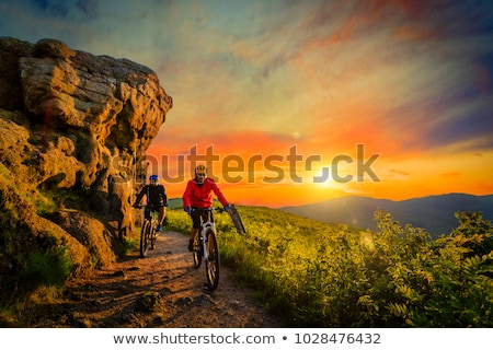 Woman and man on mountain bike in the woods Stock photo © Kzenon