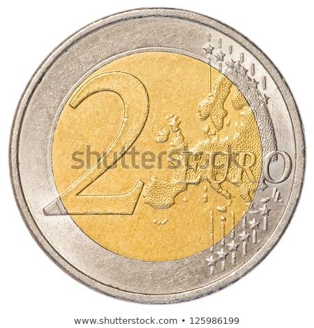 Dwa euro monety cent odizolowany biały Zdjęcia stock © seen0001