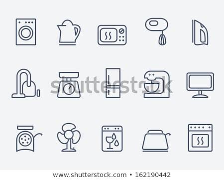 Háztartás készülékek vonal ikon háló mobil Stock fotó © RAStudio