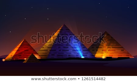 Stock photo: egypt pyramid and colorful spotlights
