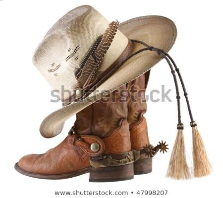 cowboykalap · sarkantyú · csizma · ezüst · cowboy · csizma · csendélet - stock fotó © lincolnrogers