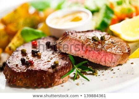 füstölt · disznóhús · vesepecsenye · fűszer · fehér · tányér - stock fotó © digifoodstock