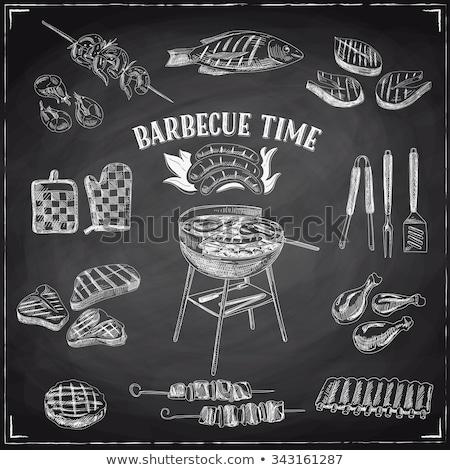 Barbecue grill tábla illusztráció fekete retro klasszikus Stock fotó © m_pavlov