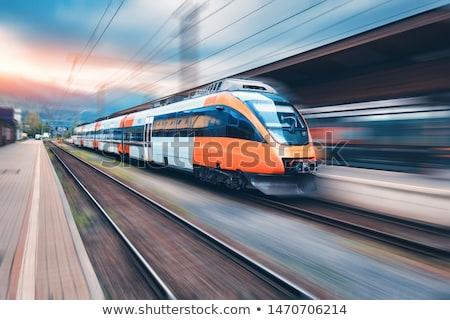 Gyors vonat vasútállomás égbolt utazás ipar Stock fotó © stevanovicigor