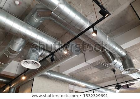 Pipes ventilação grande blue sky metal azul Foto stock © nasonov