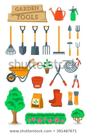 Kertészkedés gazdálkodás szerszámok vektor ikonok ikon szett Stock fotó © vectorikart