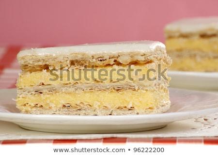 乳蛋糕 香草 片 糖 盤 黃色 商業照片 © Digifoodstock