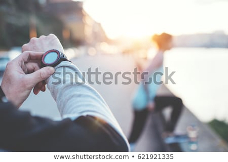 A boy jogging near the river Stock photo © bluering