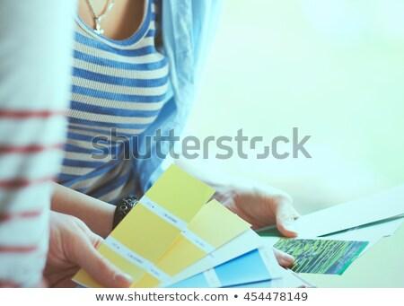 kadın · renk · grafik · kız · kitap - stok fotoğraf © dolgachov