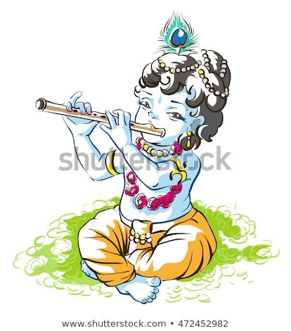 Бога Кришна мальчика пастух играет флейта Сток-фото © orensila