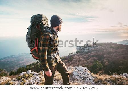 Uomo escursioni montagna cielo rock persona Foto d'archivio © ongap