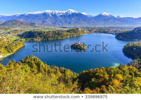 Castle on hill above lake Bled in SLovenia Stock photo © stevanovicigor
