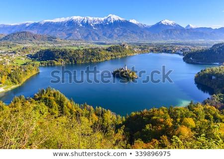 Сток-фото: замок · холме · озеро · Словения · лет