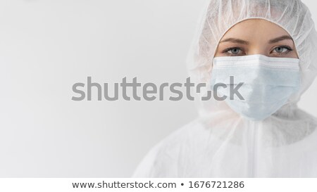 femme · rayonnement · costume · masque · à · gaz · permanent - photo stock © rastudio