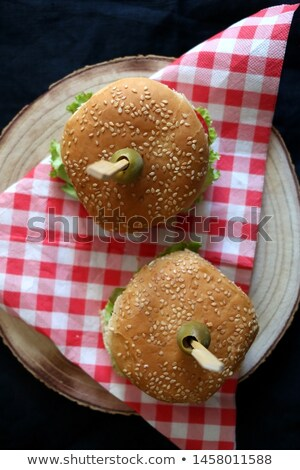 homemade olive bread, vegetables, sauces and veggie burgers. Top view Stock photo © faustalavagna
