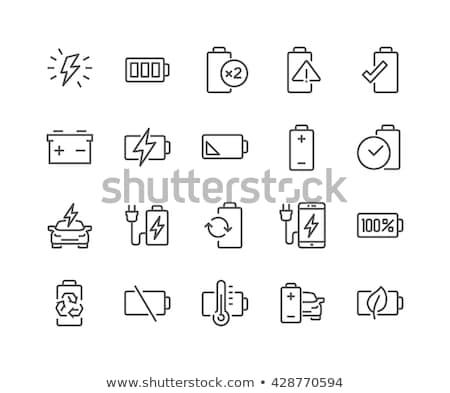 plein · batterie · ligne · icône · vecteur · isolé - photo stock © rastudio