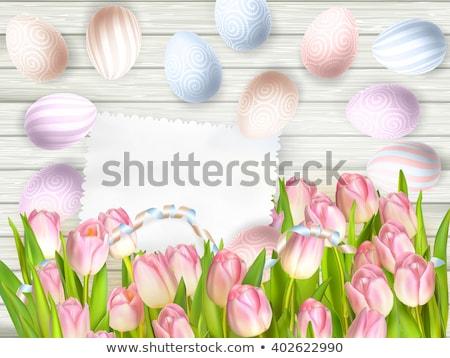 Húsvéti tojás tulipánok üres klasszikus kártya eps Stock fotó © beholdereye
