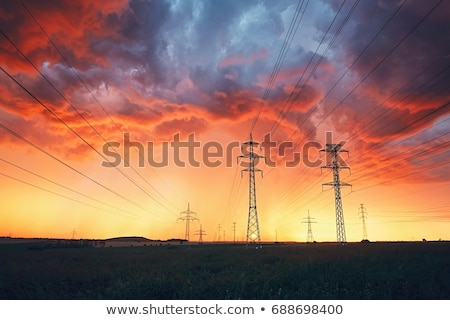 High voltage power lines during a storm Stock photo © artistrobd