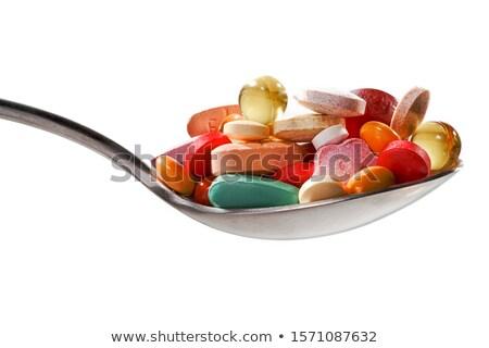 スプーン 薬 赤 白 薬局 ストックフォト © janssenkruseproducti