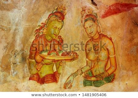 famoso · antigo · parede · pinturas · Sri · Lanka · nu - foto stock © zambezi