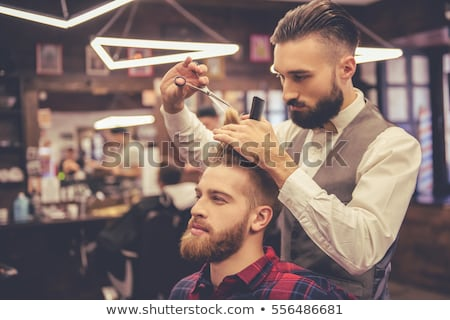 Profesyonel stilist kesmek saç müşteri görüntü Stok fotoğraf © deandrobot