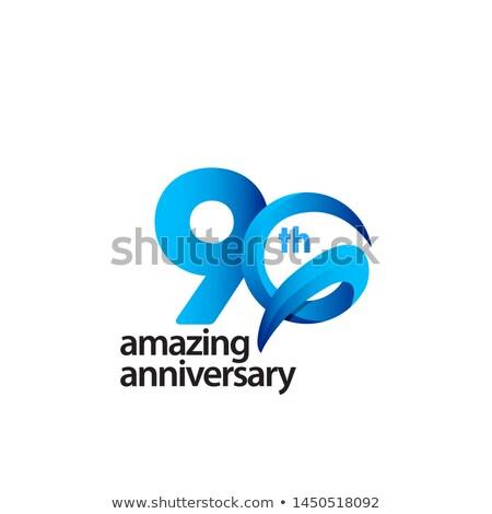 Foto stock: 90th Anniversary Celebration Badge Label In Golden Color