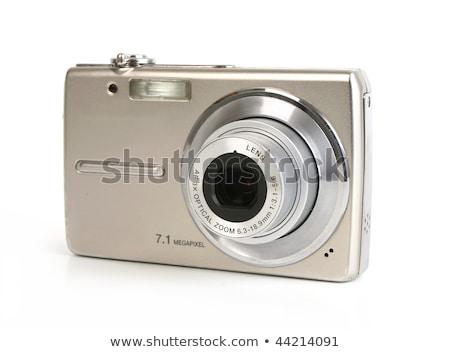 kompakt · digitális · fényképezőgép · izolált · fehér · nő · lány - stock fotó © peterguess