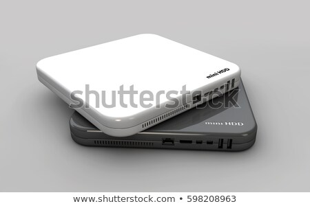 Hdd, mini hard disk drive white and dark colors, components, 3d Illustration Stock photo © tussik