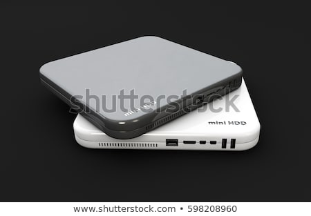hdd mini hard disk drive white and dark colors components 3d illustration isolated black stock photo © tussik