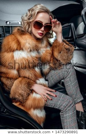 блондинка · девушки · сидят · черный · диван · великолепный - Сток-фото © pawelsierakowski