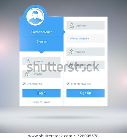 Szary login formularza ui szablon projektu Zdjęcia stock © SArts