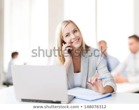 小さな · ビジネス女性 · 話 · 携帯電話 · ブロンド · オフィス - ストックフォト © dotshock