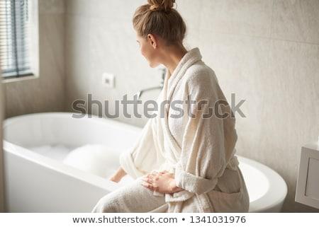 улыбаясь красивой сидят ванны пена Сток-фото © deandrobot