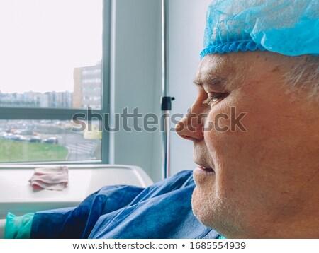 悲しい · 男 · 青 · シャツ · 座って · 下向き - ストックフォト © feedough