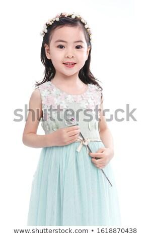 Aranyos lány fehér szoknya illusztráció mosoly Stock fotó © bluering