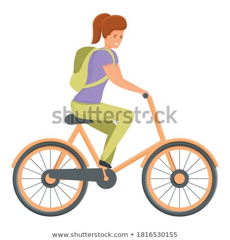 Retro vector vrouwelijke fiets vintage fiets Stockfoto © NikoDzhi