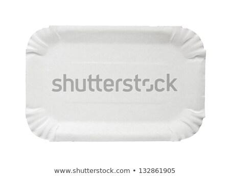 Téglalap papír tányér eldobható fehér tiszta Stock fotó © Digifoodstock