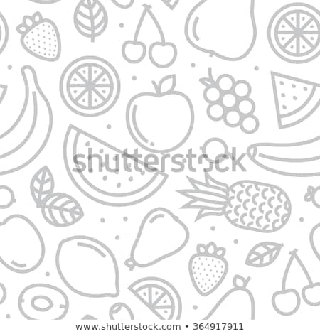 Stock fotó: Seamless Pattern Of Fruit - Apple And Pear
