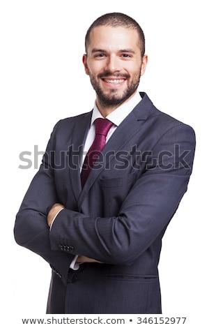 retrato · jovem · barbudo · homem · em · pé · isolado - foto stock © lightfieldstudios