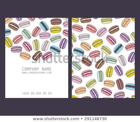 Macarons ayarlamak vektör renkli tatlı fransız Stok fotoğraf © pikepicture