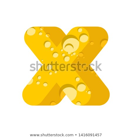 Letter X cheese font. Symbol of cheesy alphabet. Dairy Food type Stock photo © popaukropa