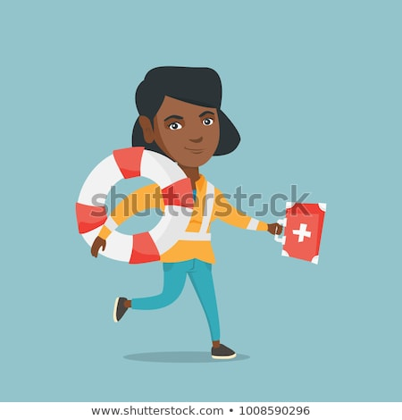 Paramedic running with first aid box and lifebuoy. Stock photo © RAStudio