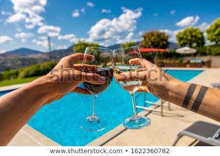Couple enjoying sun in pool Stock photo © IS2