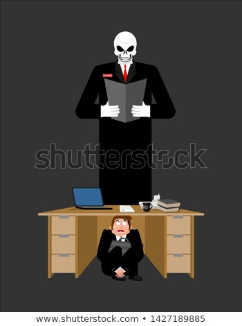 Businessman scared under table of creditor. frightened business  Stock photo © popaukropa